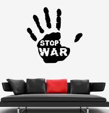 Wall Decal Stop War Handprint Words Peace Vinyl Sticker Ed1788 Wallstickers4you