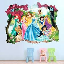 Disney Princesses 3d Wall Decal Cinderella Snow White Ariel Wall Sticker Ebay