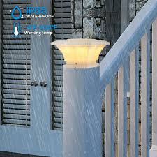 For Deck 5x5 Warm White Lamp Waterproof Square Fence Light Garden Or Patio 360 Beam Angle Fits 4x4 Torchstar Solar Post Cap Lights Outdoor 6x6 Posts Pack Of 2 Patio Lawn