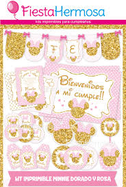 Kit Minnie Mouse Dorado Y Rosa 45 Tarjetas Imprimibles