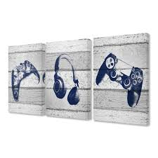 The Kids Room By Stupell 16 In X 24 In Video Gamer Trio Controllers Headset Blue Graphics On Planks By Daphne Polselli Canvas Wall Art Brp 2404 Cn 3pc 16x24 The Home Depot