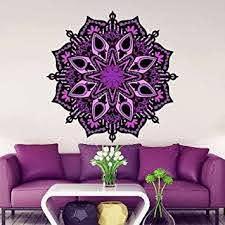 Amazon Com Mandala Wall Decals Colored Decal Full Color Yoga Sticker Art Home Bohemian Design Fashion Bedroom Decor Multicolored Vinyl Mk1 22 Tall X 22 Wide Baby