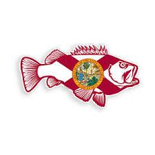 Florida Bass Fish Sticker Fl State Flag Fishing Cooler Car Window Bumper Decal Ebay