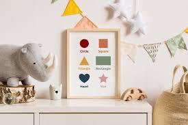Educational Posters Printable Shapes Kids Room Wall Art Etsy