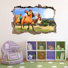 Spirit Riding Free 3d Smashed Wall Sticker Decal Art Mural Horses Kids J593 Unbranded Horse Girls Bedroom Wall Stickers Living Room Bear Decor