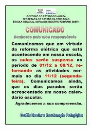Informe sobre a paralisação com a... - Escola Estadual Mª do ...