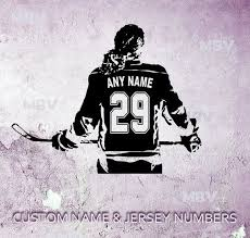 Hockey Female Player Decal Custom Name Girl Ice Hockey Wall Art Bedroom Vinyl Sticker Wall Decor Personalized Name Jersey Numbers Girls Wall Stickers Hockey Wall Art Wall Decals