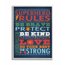 Shop The Kids Room By Stupell Dark Blue Superhero Rules Grey Framed 16 X 20 Proudly Made In Usa 16 X 20 Overstock 30334575