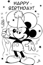 Mickey Mouse Disney Happy Birthday Coloring Pages Kleurplaten