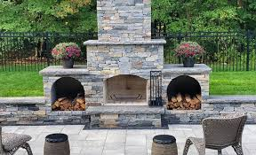 outdoor fireplace w new england blend
