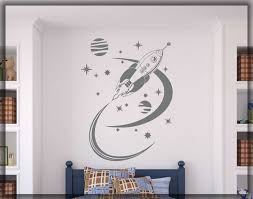 Rocket Ship Wall Decal Space Ship Home Art Decal Retro Etsy