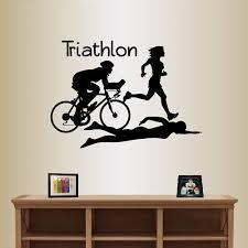 Amazon Com In Style Decals Wall Vinyl Decal Home Decor Art Sticker Triathlon Sign Athletes Biker Runner Swimmer Girl Woman Sport Room Removable Stylish Mural Unique Design 2504 Home Kitchen