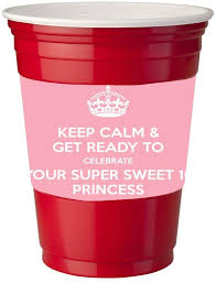 Amazon Com 4 Pack Of Vinyl Decal Stickers For Disposable Cups Sweet 16 Princess Kitchen Dining