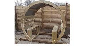 wooden garden circle arch moon gate