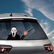 Mofeng Car Window Sticker For Halloween Decoration Exclaimed Killers Automobile Back Window Waving Wiper Sticker Horror Car Decals Wall Art Crafts Stickers Wantitall