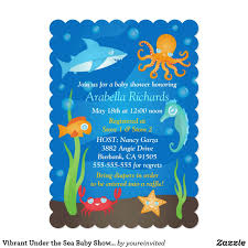 Vibrante Bajo Invitaciones De Baby Shower Del Mar Zazzle Com