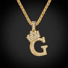 crown letter g necklace wheat chain