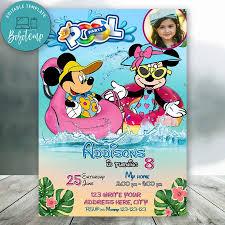 Fiesta En La Piscina Personalizada De Mickey Minnie Mouse Con