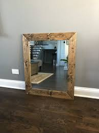 dark walnut wood framed mirror rustic