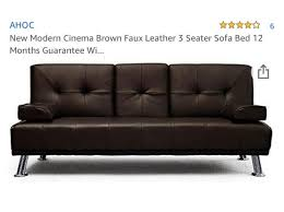 cinema sofa bed brown leather in