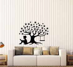 Vinyl Wall Decal Magic Tree Star Book Of Fairy Tales Reading Boy Child Wallstickers4you