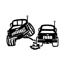 Ford Peeing On Chevy Vinyl Decal Sticker
