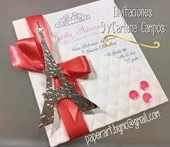 Invitaciones 15 Anos Bodas Cumpleanos Paris Torre Eiffel 28 00 En Mercado Libre