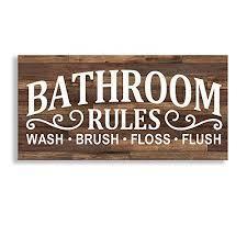 Kas Home Vintage Bath Canvas Wall Art Rustic Bathroom Rules Prints Signs Framed Bathroom Laundry Room Decor 8 X 16 Farmhouse Goals