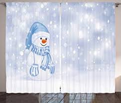 Amazon Com Ambesonne Winter Curtains Kids Toddler Design Happy Snowman Cartoon Style Figure Merry Christmas Theme Living Room Bedroom Window Drapes 2 Panel Set 108 W X 108 L Inches Home Kitchen