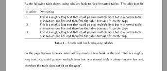 automatic line breaks in latex tables