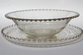 edge vintage elegant glass salad bowl
