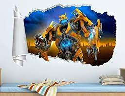 Amazon Com Airbrush Wall Sticker Bumblebee 3d Hole Torn Wall Decal Mural Art Baby