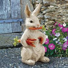 Hang On Bunny Rabbit Tan 13 Inch Hanger Resin Outdoor Fence Figurine Outdoor Statues