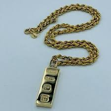 t bar 9ct gold pendant chain necklace