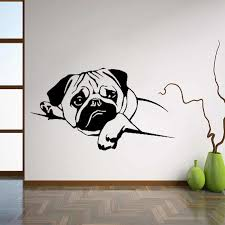 Puppy Pug Dog Wall Decals Pet Vinyl Sticker Cute Animals Home Decor Ideas Room Interior Design Wall Art For Nursery L242 Wall Art Room Designvinyl Stickers Aliexpress