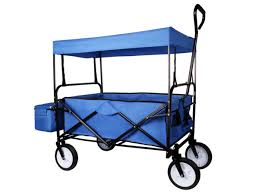 blue foldable wagon cart w canopy top wma