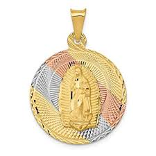 14k yellow gold lady of guadalupe