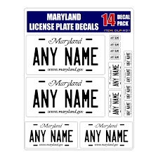 Personalized Maryland License Plate Decals Stickers Version 1