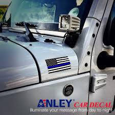 Amazon Com Anley 5 X 3 Inch Thin Blue Line Us Flag Decal Black White And Blue Reflective Stripe American Flag Car Stickers Support Police And Law Enforcement Officers 3 Pack Automotive