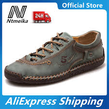 men soft leather shoes casual split
