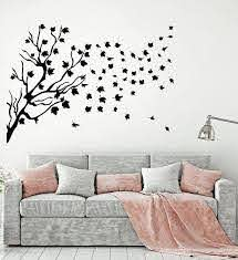Vinyl Wall Decal Branches Maple Leaves Autumn Nature Windy Weather Sti Wallstickers4you