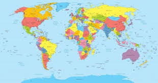 World Map With Countries Country And City Names Wall Decal Wallmonkeys Com