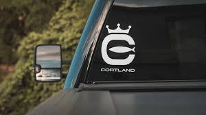 Cortland Logo Boat Window Die Cut Sticker White Cortland Line North America