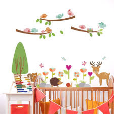 Amazon Com Lxtmgzgf Cute Deer Owl Birdcage Birds Branches Flowers Wall Decals Kids Rooms Nursery Home Decor Cartoon Animals Wall Stickers Pvc Poster Home Kitchen