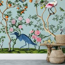 Bird And Branch Peel And Stick Wallpaper Mural In Light Blue Muse Wall Studio