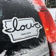 Iowa Love Diecut Vinyl Decal For Vehicles Large