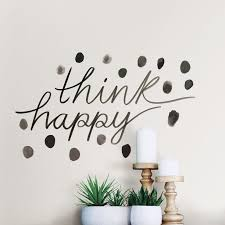 Ebern Designs Think Happy Quote Wall Decal Wayfair