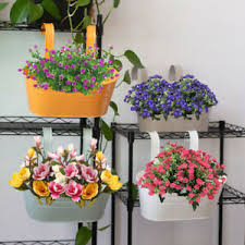 Oval Metal Plant Flower Pot Fence Balcony Garden Hanging Planter Pots Home Decor Ebay