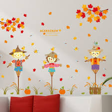 Shijuehezi Autumn Scarecrow Maple Leaf Wall Stickers For Kids Rooms Living Room Decoration Home Decor Dinosaur Wall Stickers Discount Wall Decals From Totwo2 13 55 Dhgate Com