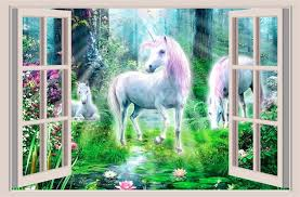 Unicorn Fantasy 3d Window View Decal Wall Sticker